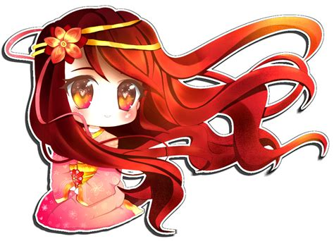 cute anime chibi girl with red hair chibi commission by bubble crown on deviantart
