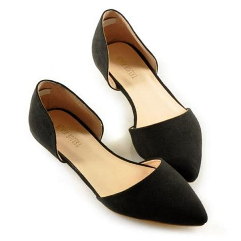 black flat womens shoes simple solid color and stitching design s flat shoes