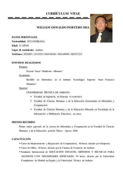 Modelo Curriculum Universitario Curr 237 Culum Vitae William