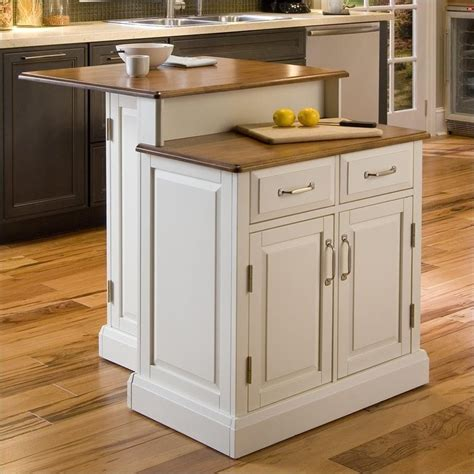 two kitchen islands woodbridge two tier kitchen island in white and oak 5010 94
