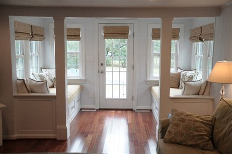 Decorating Small Rooms by Vestibule With Window Seats Beach Style Entry