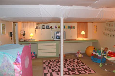 our awesome basement playroom with fabric ceilings stuff