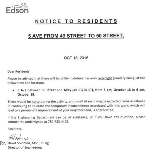 Notice Utility Maintenance 5th Ave Town News Town Of Edson Maintenance Notification Template