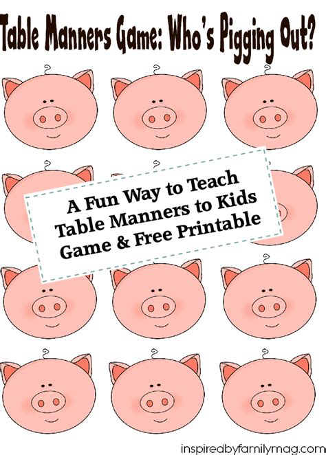 Important Aspects About Table Manners by A Way To Teach Table Manners To Free Printable