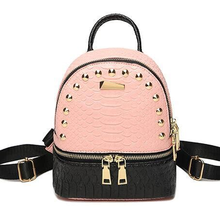 Studded Colour Block Backpack splicing color block backpack for pu mini backpacks