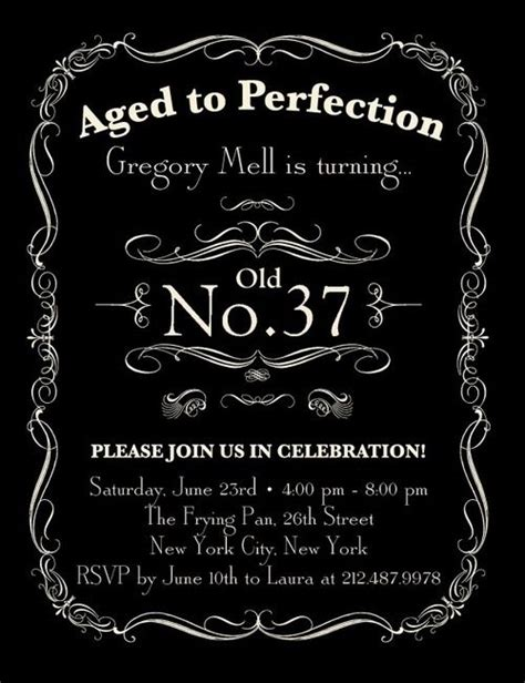 Aged To Perfection Invitation Template Free Aged To Perfection Adult Birthday Party Invitations In Black Ceci New York Birthdays