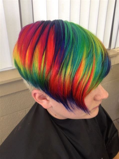 short hairstyles with dye rainbow hair color strayhair