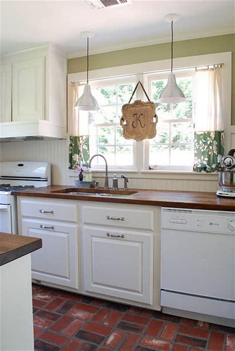 stained beadboard backsplash white kitchen beadboard backsplash brick paver floors