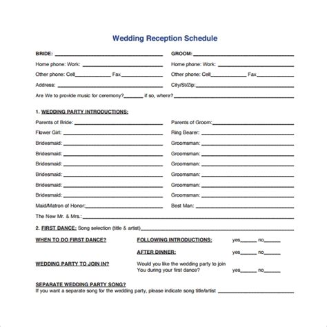 10 Sle Wedding Agenda Templates To Download Sle Templates Wedding Agenda Template