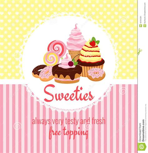 Greeting Card Template With Sweets And Candy Stock Vector