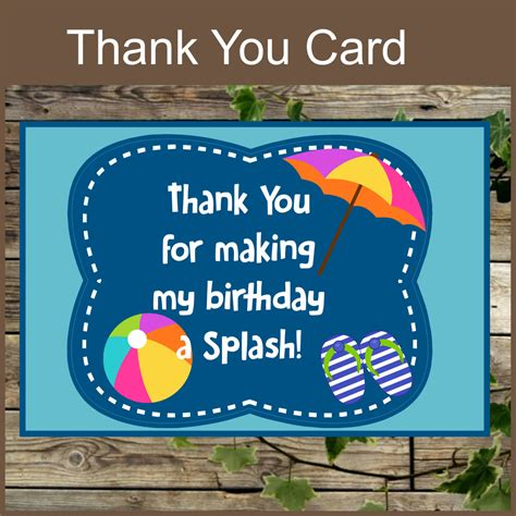 free printable thank you cards swimming pool party printable thank you card instant download