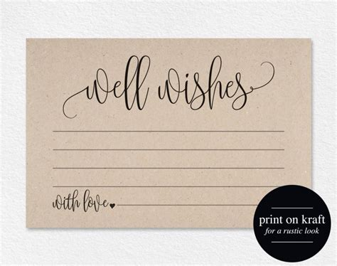 Wedding Wishes Card Template by Well Wishes Wedding Advice Cards Well Wishes Card Well