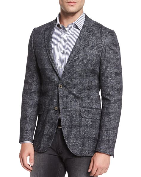 Blazer Plaid Two Pockets lyst etro plaid two button wool blend blazer in gray for