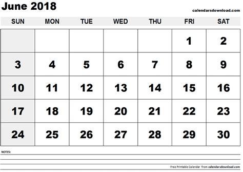 Calendar For June 2018 June 2018 Calendar