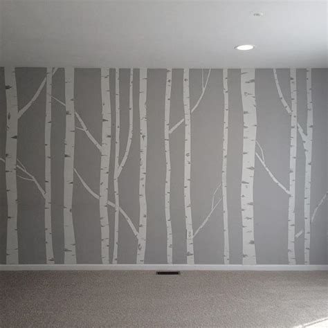 paint wall mural painted birch tree wall mural made by taping