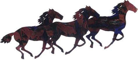 3 dimensional running horses metal wall by steel