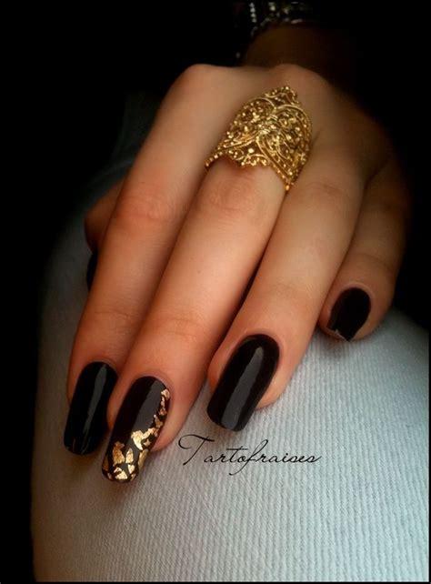 black  gold nail art nail art pinterest