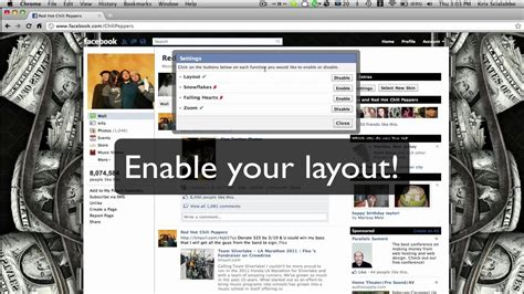 facebook themes settings fbskins com how to use the facebook skins settings youtube