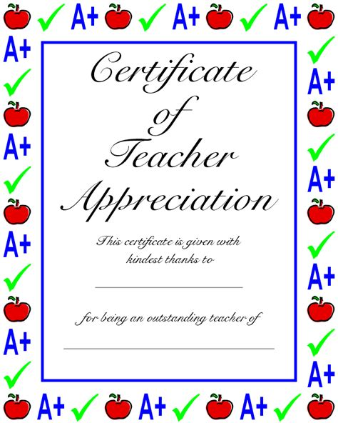 teacher s appreciation certificate certificate of teacher