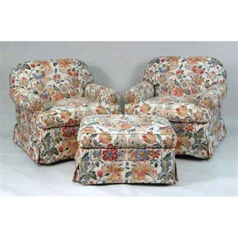 Overstuffed Chairs With Ottoman Two Overstuffed Arm Chairs And Matching Single Ottoman