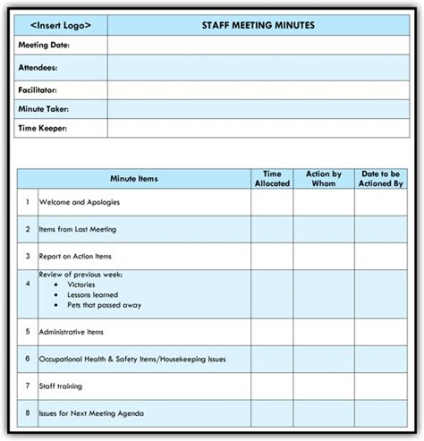 templates for agenda for staff meetings staff meeting agenda template excel word templates