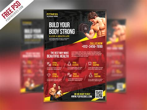 templates bodybuilder for photoshop download fitness and gym flyer psd template download download psd