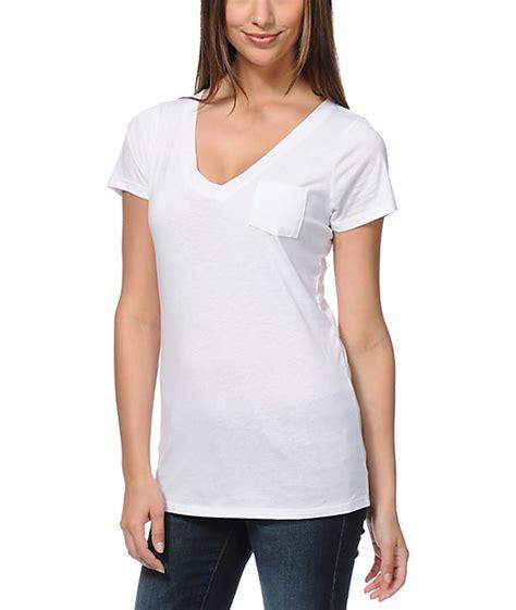zine v neck pocket white t shirt zumiez