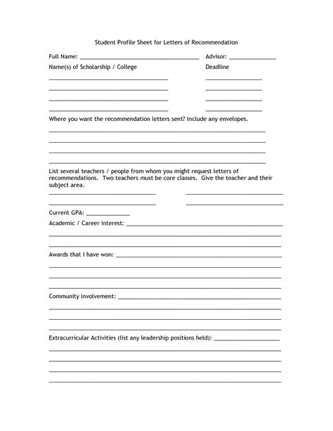 student profile template best photos of high school profile sheet student