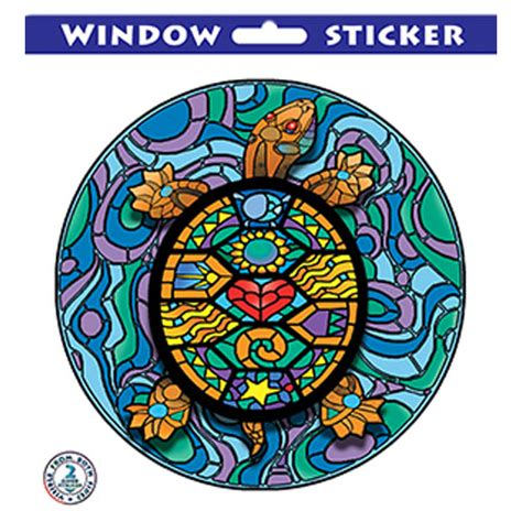 kk160 stained glass turtle window sticker stickerbiz com