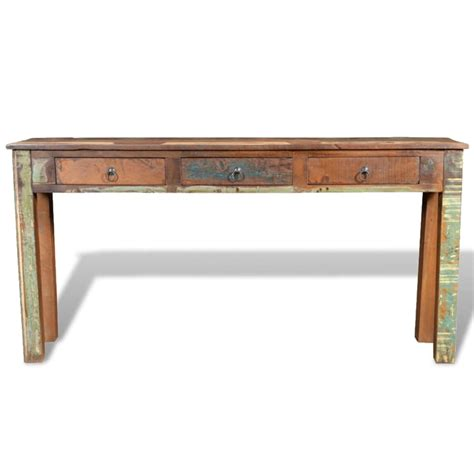 wood side table reclaimed wood side table with 3 drawers vidaxl com