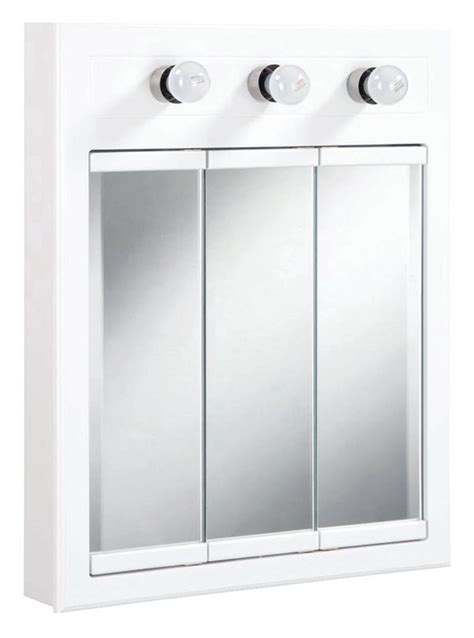 Mirrored Medicine Cabinet With Lights by Design House 532374 White 24 Quot Framed Door Mirrored