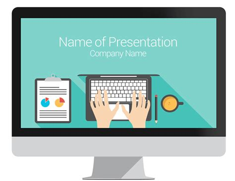 Computer Themes For Powerpoint | computer powerpoint template flat design
