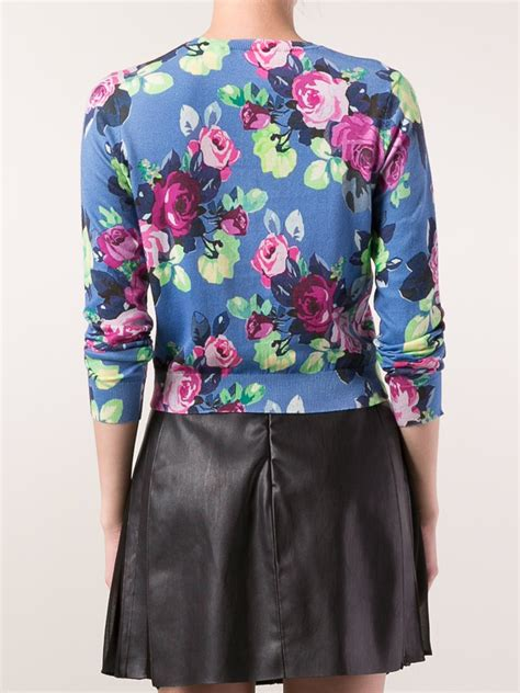 blue floral print lyst carven floral print cardigan in blue