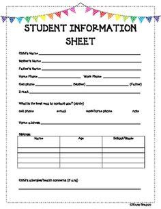 information cards template great student information sheet with parent questions