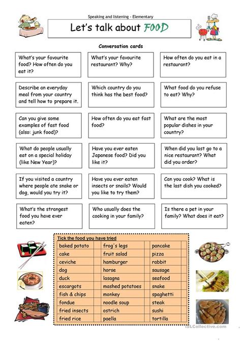 printable worksheets esl adults let s talk about food worksheet free esl printable