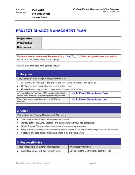 change template change management plan template