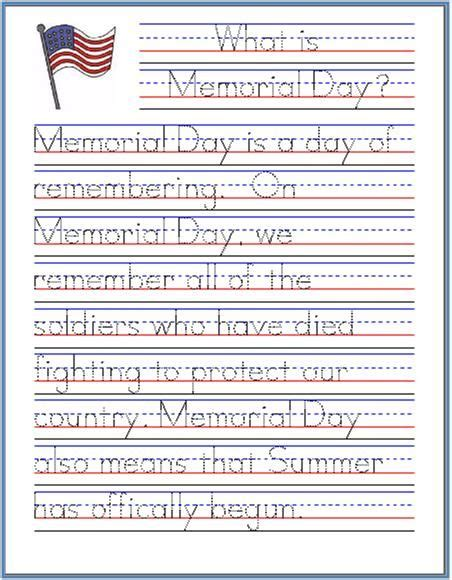 printable worksheets to improve handwriting memorial day handwriting worksheet free printable