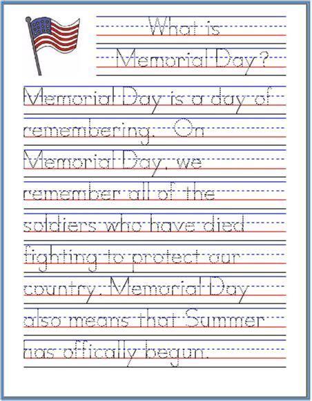 memorial day handwriting worksheet free printable