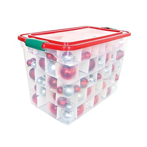 homz holiday ornament storage tote box with dividers