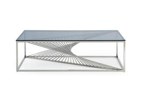 steel glass coffee table modrest modern glass stainless steel coffee table