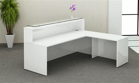 white high gloss reception counter office furniture