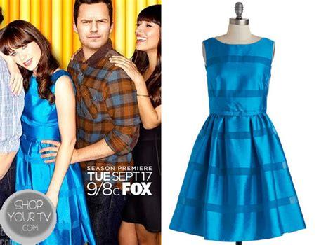 heres a brand new promo for girls season 4 new girl season 3 promo jess s metallic blue dress shop