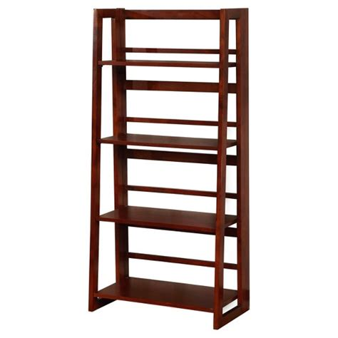 dolce 4 shelf folding bookcase 48 quot walnut cherry