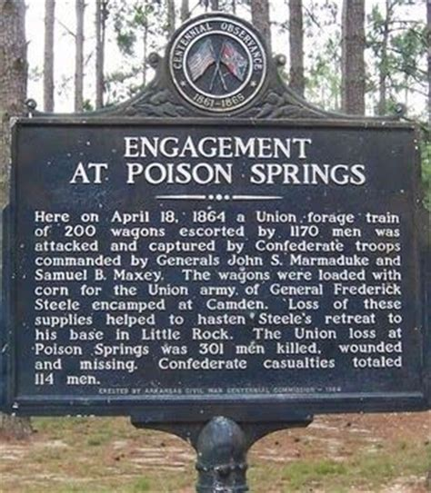 historical marker pertaining to battle at poison springs