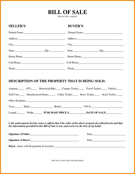 printable recreational vessel vehicle bill of sale form and