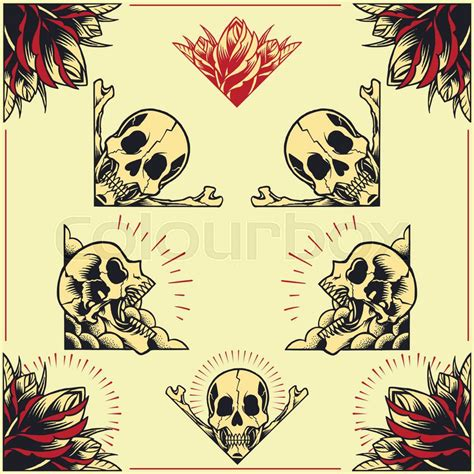 how to create a classic tattoo style vector illustration skull and frames in school style set 01