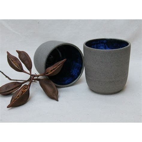 Handmade Ceramics - handmade ceramic cup in grey and cobalt blue homeware