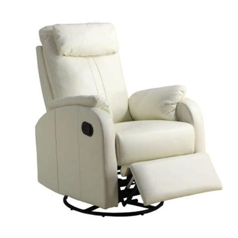 Monarch Specialties Ivory Bonded Leather Swivel Rocker Leather Swivel Rocker Recliner Chair