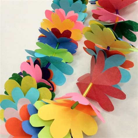 How To Make Paper Flower Leis - diy paper flower leis crafts