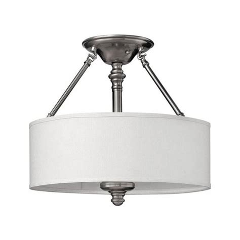 White Drum Ceiling Light Semi Flush Low Ceiling Light On Pewter Frame With White Drum Shade